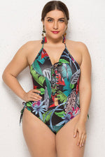 Plus Size Tropical Lace Up Detail Halter One Piece Swimsuit