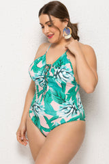Plus Size Tropical Lace Up Front One Piece Swimsuit