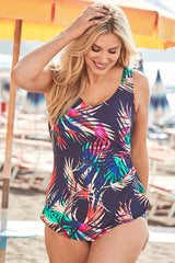 Plus Size Tropical Palm Leaf Peplum One Piece Swimsuit