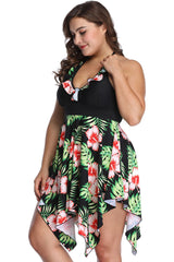 Plus Size Tropical Plant Asymmetric Flowy Halter Swim Dress