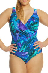 Plus Size Tropical Ruched V Neck One Piece Swimsuit