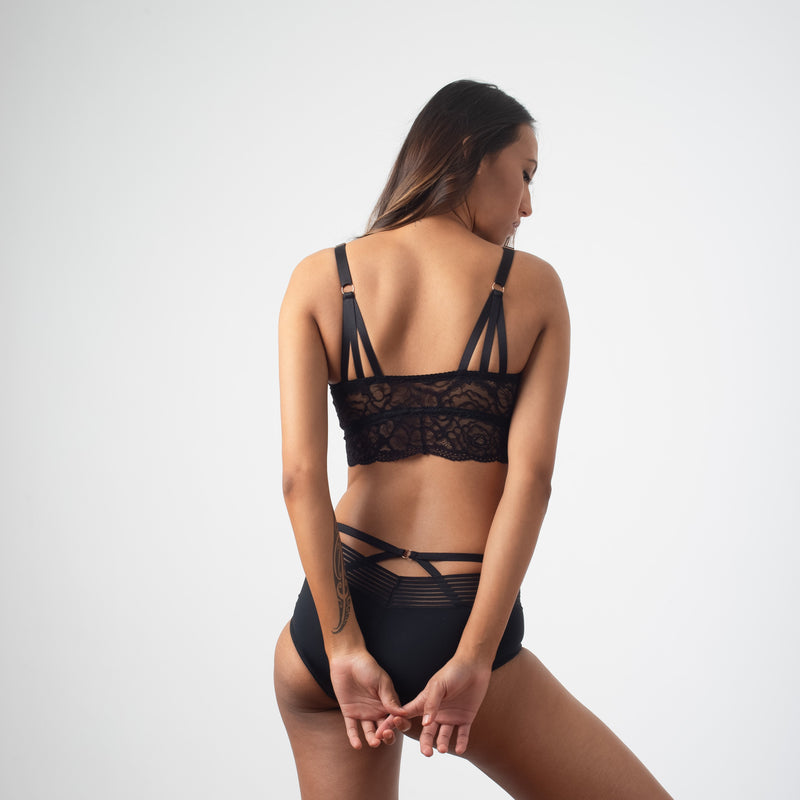 HOTMILK PROJECTME HEROINE BLACK BRALETTE - WIRE-FREE MATERNITY PREGNANCY WITH AMBITION HIGH WAISTED BRIEF BLACK