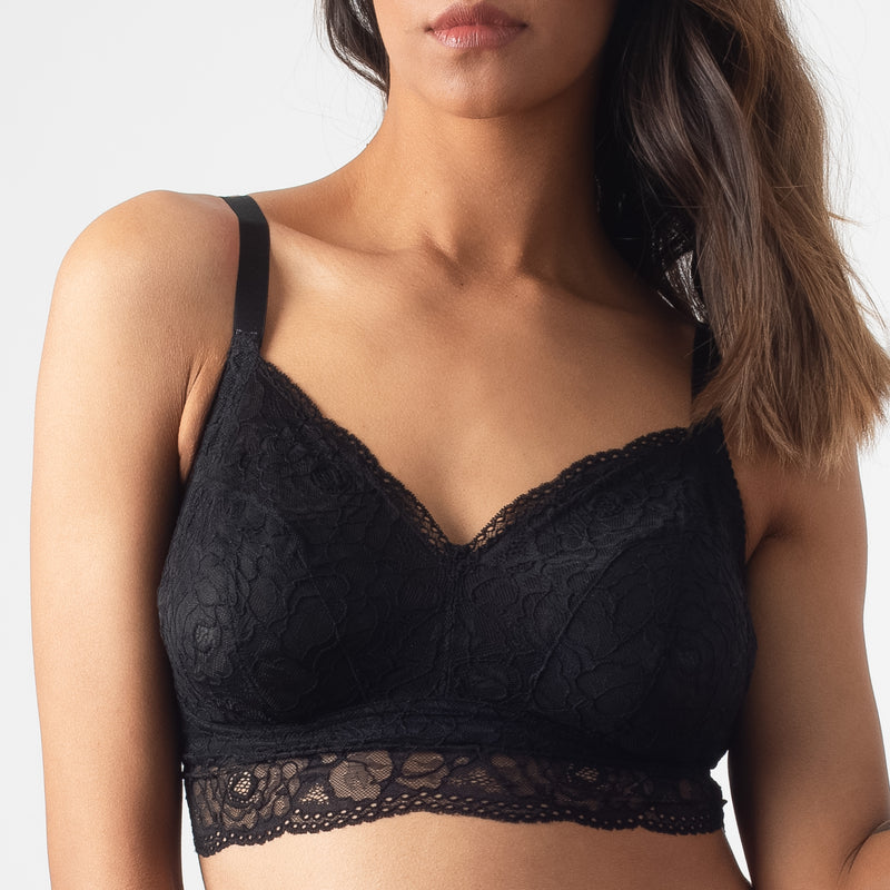 HOTMILK PROJECTME HEROINE BLACK BRALETTE - WIRE-FREE MATERNITY PREGNANCY
