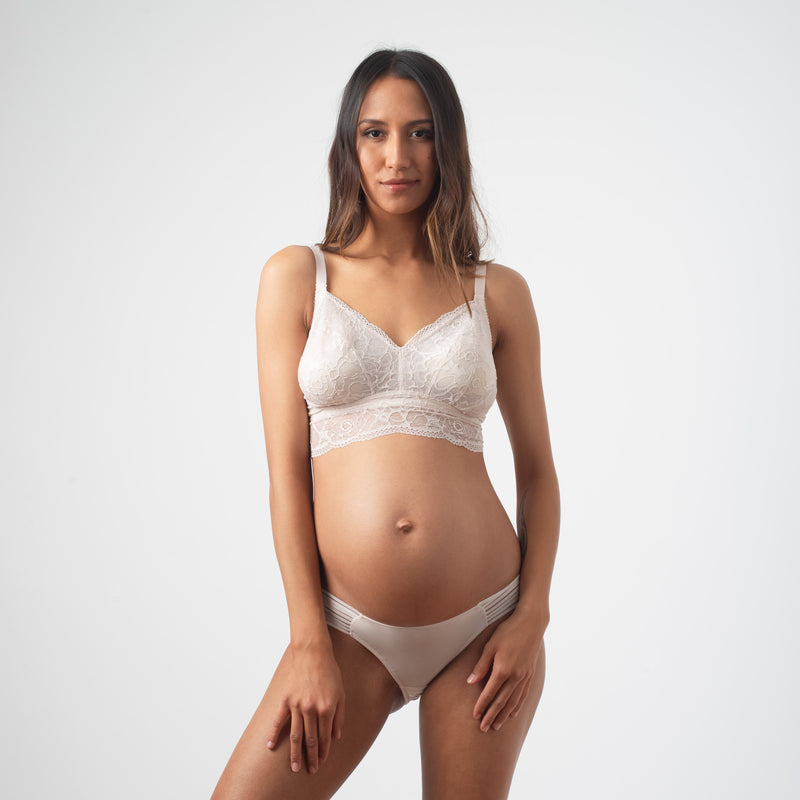 HOTMILK PROJECTME HEROINE SHELL BRALETTE - WIRE-FREE MATERNITY PREGNANCY WITH AMBITION BRAZILIAN BIKINI BRIEF SHELL