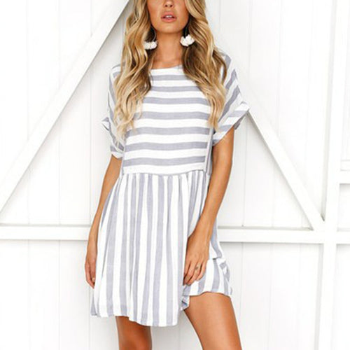 Random Short Sleeves Stripe Mini Dress