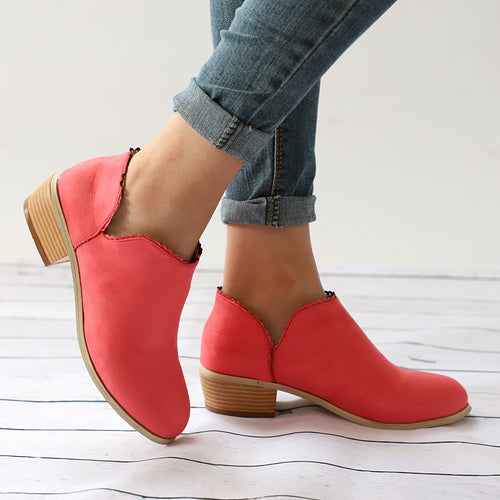 Women Low Heel Round Toe Lace-up Ankle Boots