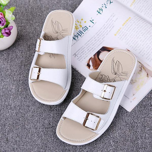 Casual Non-Slip Metal Buckle Leather Ladies  Flat Slippers