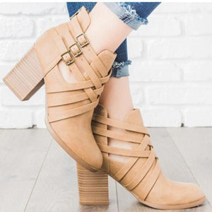 Fashion Round-Head Square-Heel Short Boots