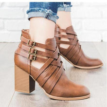 Load image into Gallery viewer, Fashion Round-Head Square-Heel Short Boots