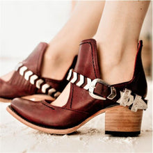 Load image into Gallery viewer, Fashion Square Heel Buckle High Heel Single Shoes