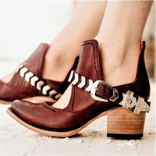 Fashion Square Heel Buckle High Heel Single Shoes