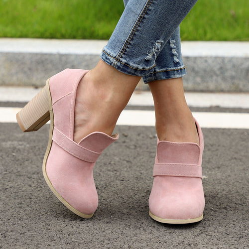 Fashion Plain Coarse Heel Round Head Shoes