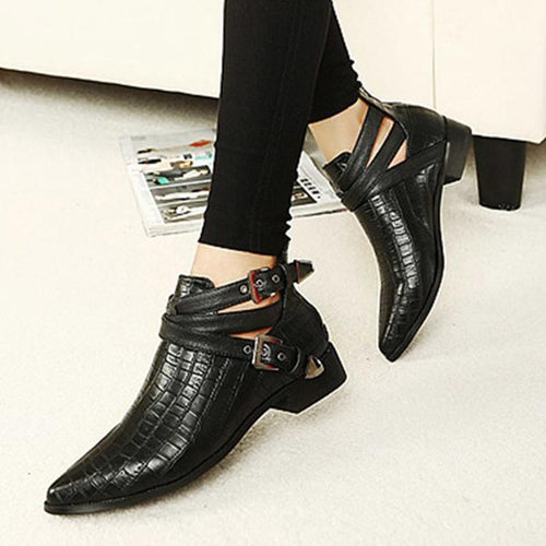 Pointed Toe Leather Buckle Boots