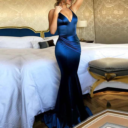 Sling Backless Pleated Temperament Evening Dress