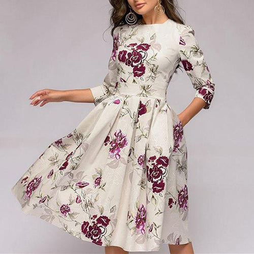 Cropped Sleeve Print Pleated   Skater Dress