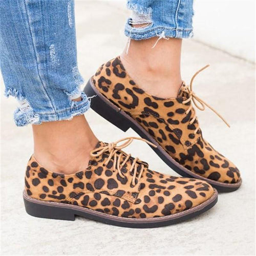 Fashion Leopard Print Nubuck Leather Lace Up Flat Shoes