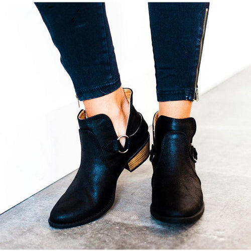 Fashion Pointed Head Plain Coarse Heel Buckle Boots