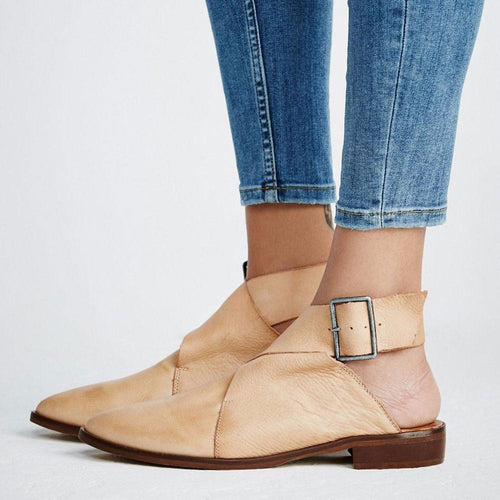 Sexy Pointed Head Plain Buckle Flat Shoes