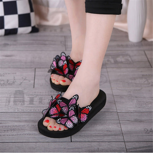 Sweet Thicken Sole Butterflies Embellished Slippers