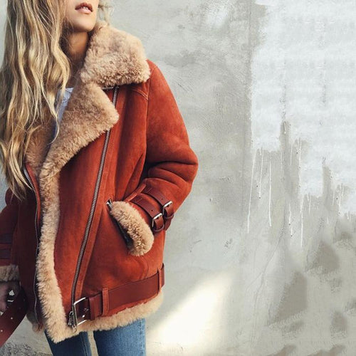 Fur Collar Lapel  Zipper  Plain Coats