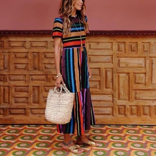 Fashion Round Collar Colorful Striped Maxi Dress