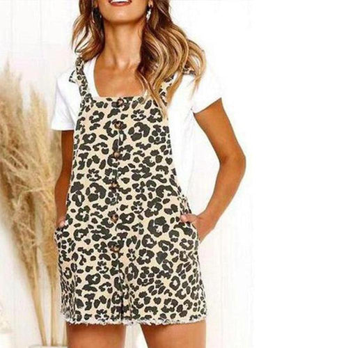 Fashion Leopard Printed Loose Button Embellished Jumpsuit