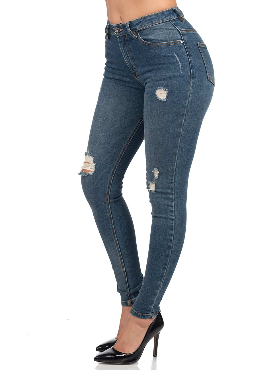 Ripped High Waisted Jean