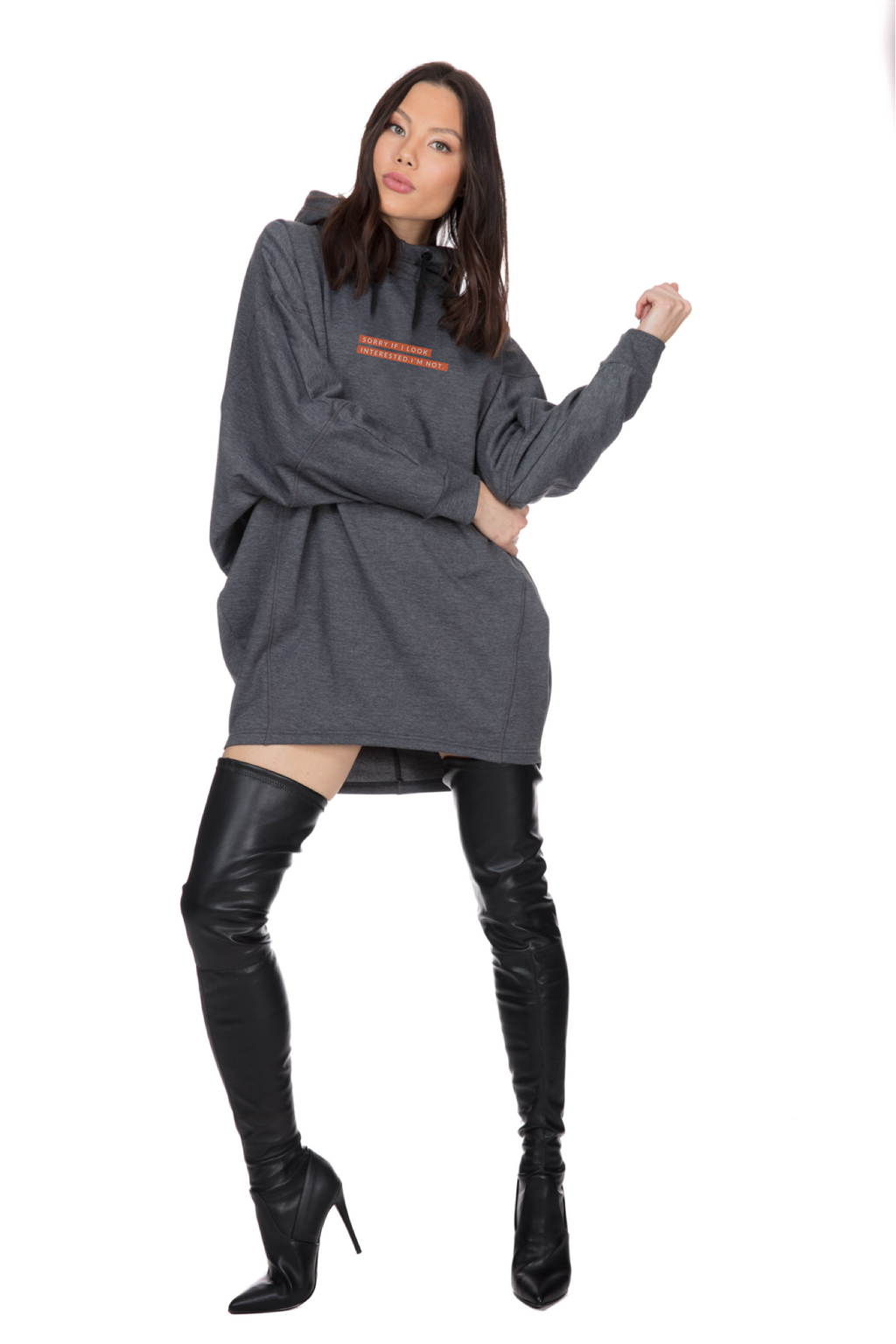 "Paola Gray Hoodie Dress  ""Sorry if I Look Interested"""