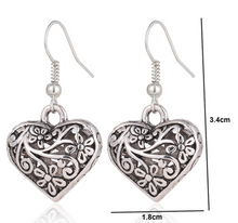 Load image into Gallery viewer, Carved Heart Earrings