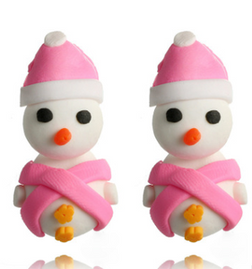 Cute Snowman Christmas Earrings