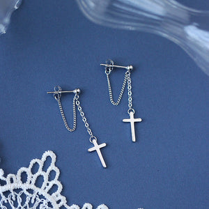 Cross Chain Tassel Earrings
