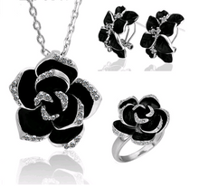 Load image into Gallery viewer, Black Rose Jewellery Sets