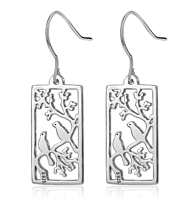 Carved Bird Earrings