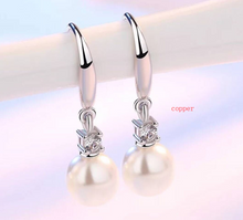 Load image into Gallery viewer, Crystal Pearl Silver Earrings