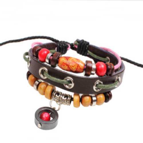 Red Orb Leather Wristband