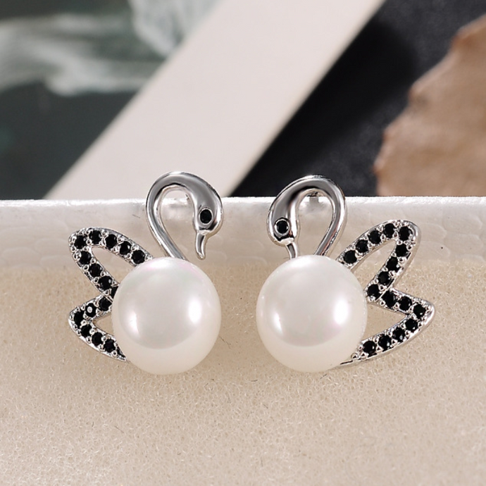 Swan Orb Earrings
