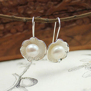 Lotus Faux Pearl Earrings