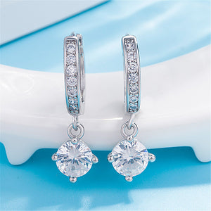 Austrian Crystal Drop Hoop Earrings