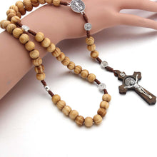 Load image into Gallery viewer, Handmade Rosary Cross Necklace