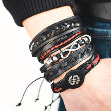 Load image into Gallery viewer, Multi Layer Bracelet Set, Black Stars and Feather