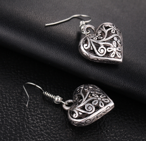 Carved Heart Earrings