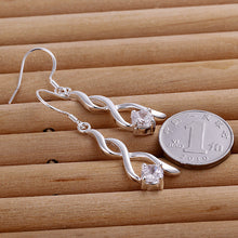 Load image into Gallery viewer, Crystal Spiral Drop Earrings