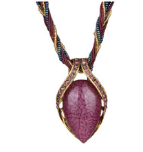 Load image into Gallery viewer, Vintage Bohemian Opal Crystal Necklace