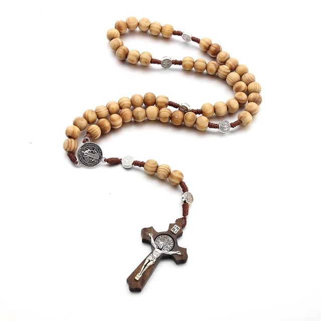 Handmade Rosary Cross Necklace