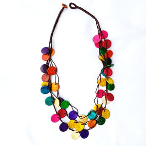 Colorful Wooden Coconut Shell Necklace