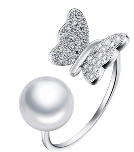 Butterfly Faux Pearl Ring