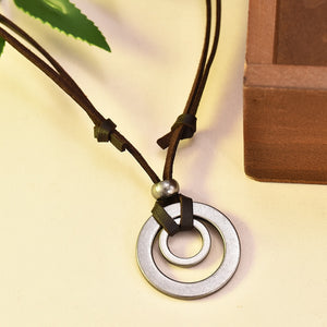 Double Circle Adjustable Leather Cord Necklace