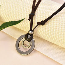 Load image into Gallery viewer, Double Circle Adjustable Leather Cord Necklace