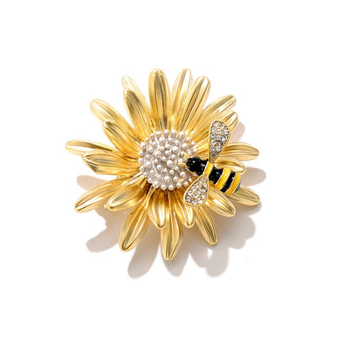 Bee and Daisy Brooch