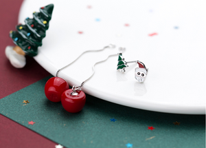 Rosy Apple Christmas Earrings